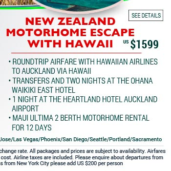 New Zealand Motorhome escape with Hawaii from US$1599. See site for details