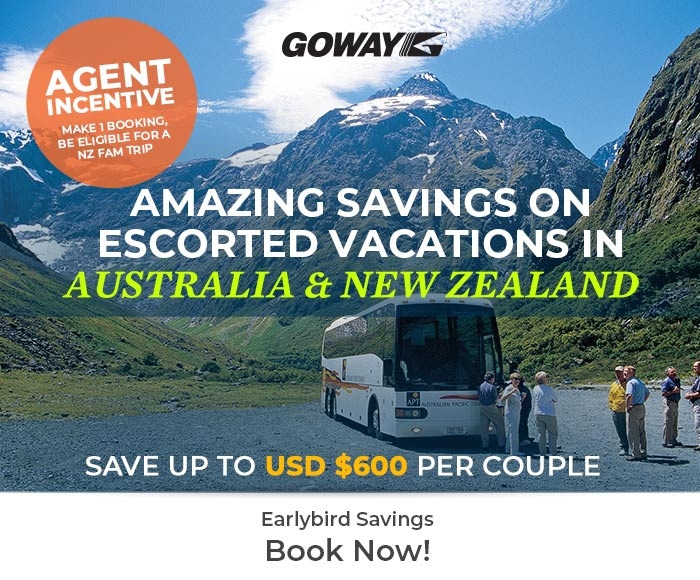 Amazing Savings on escorted vacations in Australia and New Zelaand - Agent incentive: Win a NZ FAM trip! More info on GowayAgent.com