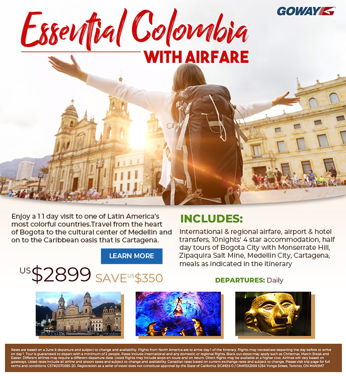 Essential Colombia. 11days includes international air fare. From US$2899. Please see site for details