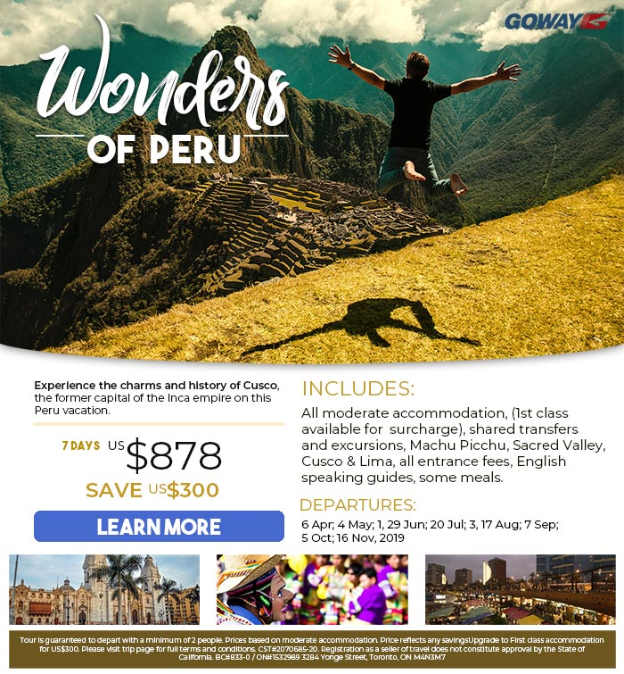 Experience the charms and history of Cusco on Goway's Wonders of Peru. From 7 Days US$878. Save US$300. Please see site for details