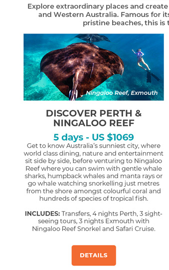 SDiscover Perth and Ningaloo Reef - 5 days from US$1069