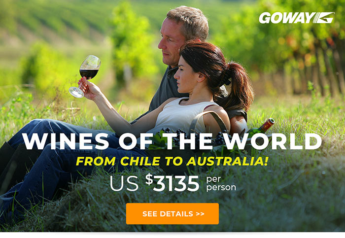 Wines of the World - from Chile to Australia from US$3135 per person. See site for details, terms and conditions.