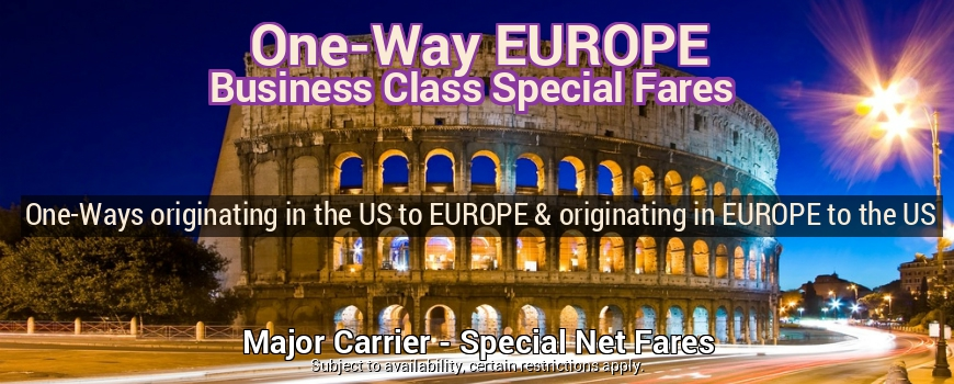 One-Way EUROPE Business Class - REQUEST A QUOTE